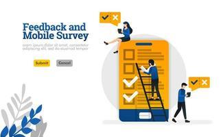 feedback e pesquisa móvel para o conceito de ilustração vetorial de necessidades de pesquisa pode ser usado para, página de destino, modelo, ui ux, web, aplicativo móvel, pôster, banner, site vetor