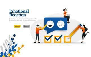 reação emocional para usuários e desenvolvedores de aplicativos. o conceito de ilustração vetorial de marketing e publicidade pode ser usado para, página de destino, modelo, ui ux, web, aplicativo móvel, cartaz, banner, site vetor