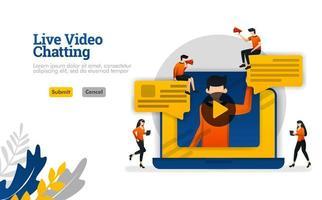 vídeo chat ao vivo com laptops, conversas para vlogger industrial, conceito de ilustração vetorial de mídia social pode ser usado para, página de destino, modelo, ui ux, web, aplicativo móvel, pôster, banner, site