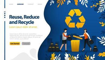 reutilizar, reduzir e reciclar com ilustrações de latas de lixo e pilhas de lixo da cidade O conceito de ilustração vetorial pode ser usado para, página de destino, modelo, ui ux, web, aplicativo móvel, cartaz, banner, site vetor