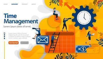 gerenciamento de tempo, agendamento, planejamento em negócios e projetos financeiros, o conceito de ilustração vetorial pode ser usado para, página de destino, modelo, ui ux, web, aplicativo móvel, cartaz, banner, site