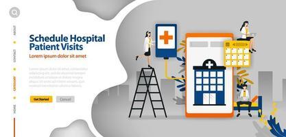 agenda de visitas hospitalares de pacientes, agendamento hospitalar, aplicação de planejamento hospitalar. o conceito de ilustração vetorial pode ser usado para página de destino, modelo, ui ux, web, aplicativo móvel, cartaz, banner, site vetor