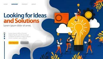 à procura de ideias e soluções para problemas, brainstorming para o conceito de ilustração vetorial de ideias pode ser usado para, página de destino, modelo, ui ux, web, aplicativo móvel, cartaz, banner, site vetor