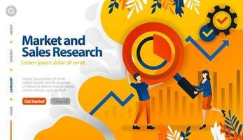 pesquisa de mercado e vendas, marketing de destino e vendas, conceito de ilustração vetorial de lucro buscar pode ser usado para, página de destino, modelo, ui ux, web, aplicativo móvel, cartaz, banner, site