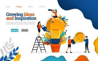 ideias crescentes e inspiração para negócios. trabalho em equipe na promoção de inspiração e ideias. conceito de ilustração plana em vetor, pode usar para, página de destino, modelo, interface do usuário, web, página inicial, cartaz, banner, folheto vetor