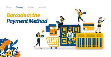 design de pagamento de compras com um código de barras ou método de código QR para facilitar as compras. ilustração vetorial estilo de ícone plano adequado para página de destino da web, banner, panfleto, adesivo, plano de fundo de papel de parede vetor