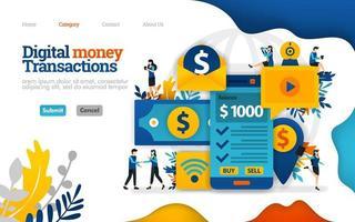 transação de dinheiro digital. enviar e receber dinheiro apenas com smartfone móvel. conceito de ilustração plana em vetor, pode usar para, página de destino, modelo, interface do usuário, web, página inicial, cartaz, banner, folheto vetor