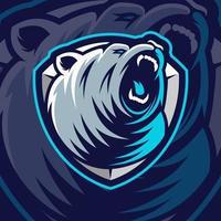 desenho de mascote de urso em fundo azul vetor