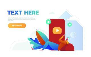 página inicial do site do aplicativo de música para celular. jovem ouvindo música e estilo de vida ativo, personagem masculino passa tempo com aplicativo de música vetor
