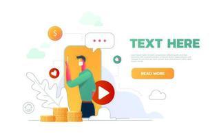 vídeo blogger design de página da web com master class como fazer dinheiro apresentação vetor