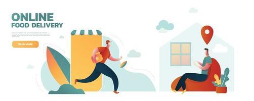 compras online e envio rápido enquanto auto-quarentena no distanciamento social. conceito de surto de coronavírus covid-19, entregador ágil vai de um site de compras de smartphone para enviar o pacote ao cliente. vetor