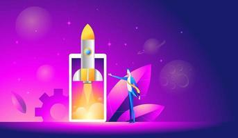 lançamento de uma ilustração isométrica de aplicativo móvel. foguete de decolagem ou nave espacial pelo telefone celular vetor