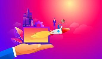 empresário voando para a frente com um motor de foguete com a ideia de alvo. ilustração de conceito de vetor de negócios