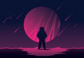 marciano olhando um planeta vetor
