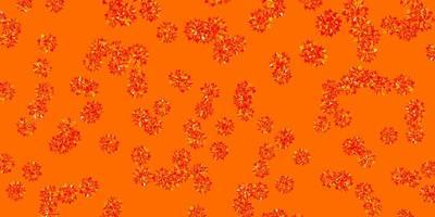 padrão de vetor laranja claro com flocos de neve coloridos.