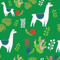 ilustração com lhama e cactos. padrão sem emenda de vetor em fundo botânico.