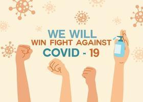 punhos erguidos confiantes e uma mão segurando o gel desinfetante. ideia do conceito de proteção contra vírus. vetor