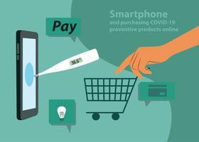 compras online durante a quarentena covid-19. smartphone para compras online. vetor