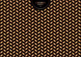 abstrato na moda ouro chevron padrão em fundo preto e textura. vetor