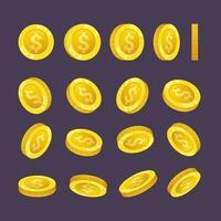 moedas de ouro caindo dinheiro em diferentes posições ilustração vetorial vetor