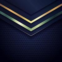ouro abstrato e cabeçalho de triângulo geométrico metálico verde sobre fundo azul escuro. vetor