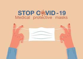 máscara médica protetora contra a doença covid-19 vetor