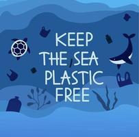 mantenha o cartaz de plástico do mar livre vetor