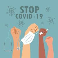 Junte-se à luta contra o pôster covid-19 vetor
