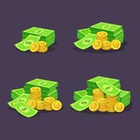 pilha de moedas de ouro e ilustração vetorial de dinheiro vetor