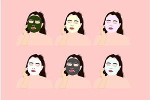 garota com várias máscaras