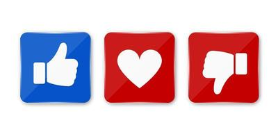 polegar para cima, para baixo e ícone de coração. ícone de gosto, desgosto e amor do vetor. pronto para curtir, desgostar e botão de amor para site e aplicativo móvel