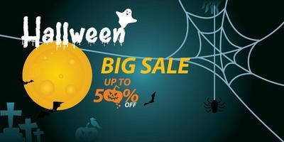 venda e banner de 50 por cento de desconto para o halloween. vetor