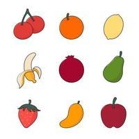 coleção de desenho animado de frutas vetor