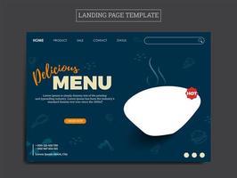modelo de página de destino para negócios alimentícios vetor