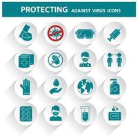 ícones de conscientização de coronavírus. vetor
