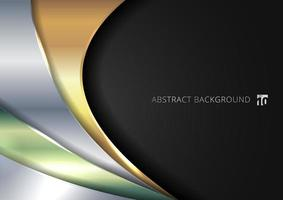 modelo abstrato brilhante camada de sobreposição de curva metálica dourada, prata, verde sobre fundo preto.