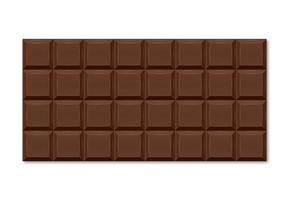 ilustração realista da barra de chocolate marrom com fatias retangulares.