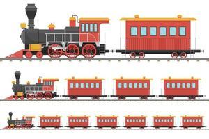 locomotiva a vapor vintage e vagão na ferrovia vetor