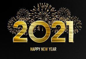 feliz Ano Novo e feliz Natal. Fundo dourado de ano novo de 2021 com fogos de artifício. vetor