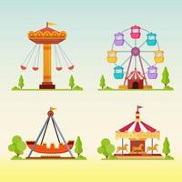 carrosséis em ilustração vetorial de feira de diversões de carnaval vetor