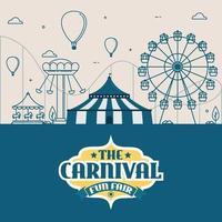 ilustrações vetoriais de circo de carnaval com barraca e carrosséis vetor