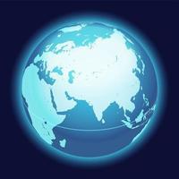 mapa do globo do mundo. mapa centrado na Índia, Oriente Médio e Ásia. ícone de esfera do planeta azul sobre um fundo escuro. vetor