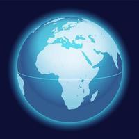 mapa do globo do mundo. áfrica, mar mediterrâneo, mapa centrado na península arábica. ícone de esfera de planeta azul isolado em um fundo escuro. vetor