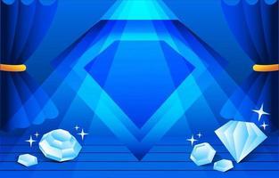 fundo de joia de cristal azul vetor