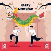 dança do dragão de ano novo vetor