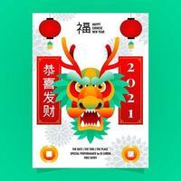 pôster cabeça de dragão de ano novo vetor