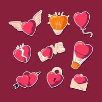 pacote de corações brilhantes dos namorados vetor