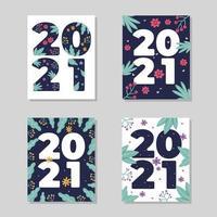 2021 cartões florais vetoriais