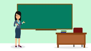 Ilustração plana de professor de mulher