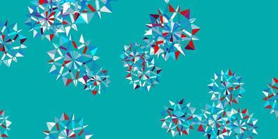 fundo vector azul e vermelho claro com flocos de neve de Natal.